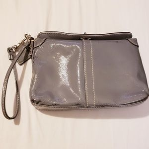 Gray Patent Leather Coach Wristlet